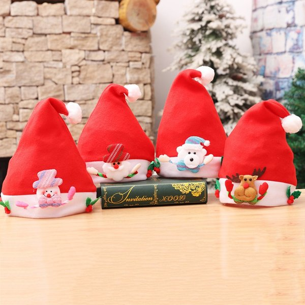 Plush Christmas Hat Red Christmas Decorations Santa Claus Hat Christmas Ornaments For Adult Kids With OPP Bag 50pcs PCH1