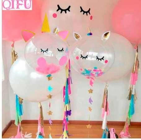 QIFU Pink Unicorn Party Balloons Air Birthday Decorations Kids Baloons Ballons Decor