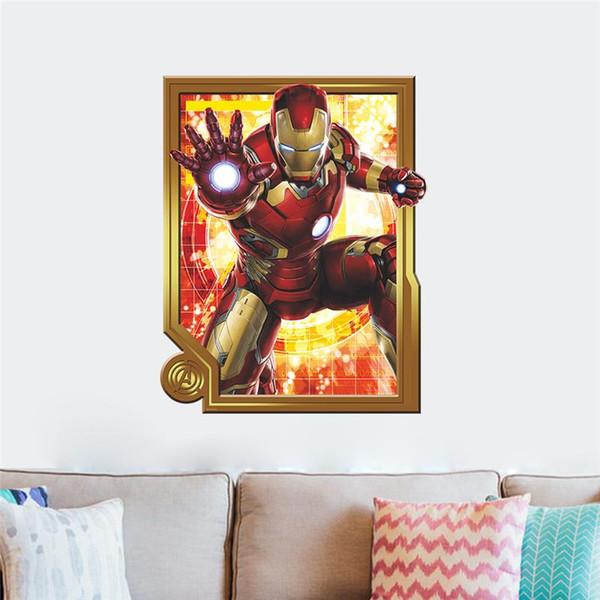 WHOLESALE Iron Man super hero wall stickers kids room decor avengers a003. diy home decals cartoon movie mural art poster 4.0