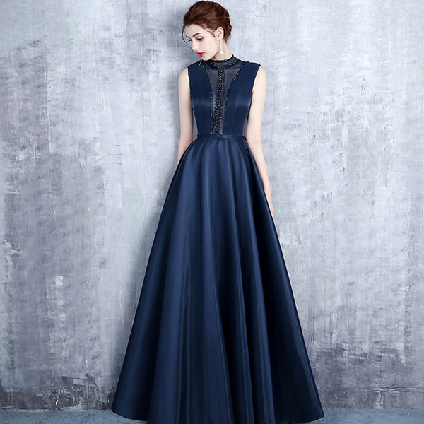 XS669 Ever Pretty Navy Blue Lace A-line Sleeveless Chiffon Cheap Elegant Long Formal Evening Dresses Prom Dresses Prom gown