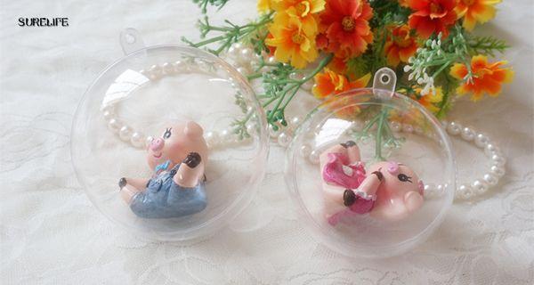 20pcs 10cm Christmas Tress Decorations Ball Transparent Open Plastic Clear Bauble Ornament Gift Present Box Decoration