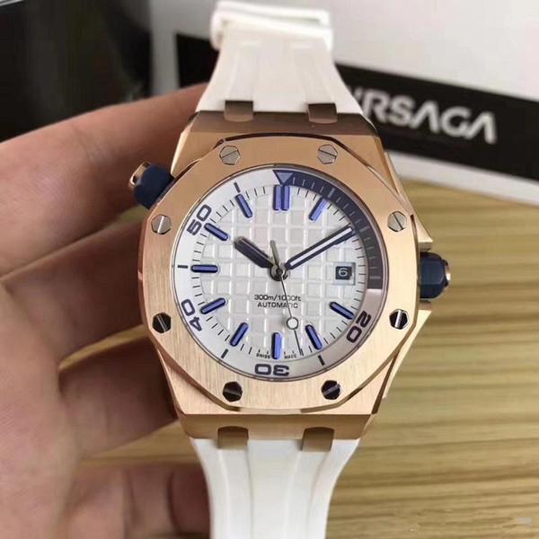 Commercio all'ingrosso - Top Luxury Watch Watch Uomo speciale quadrante nero elastico in acciaio inossidabile automatico orologio meccanico da uomo in acciaio 15710ST