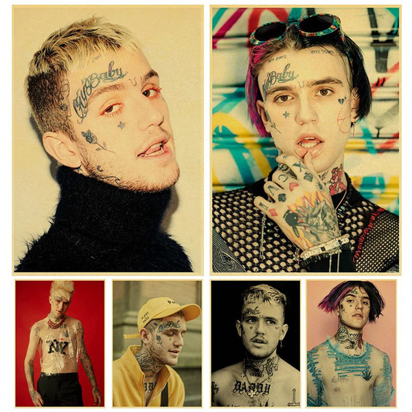 Rapper Lil Peep poster Kraft Paper art Poster Bar Cafe Vintage High quality Printing Drawing core wall Decorative Painting