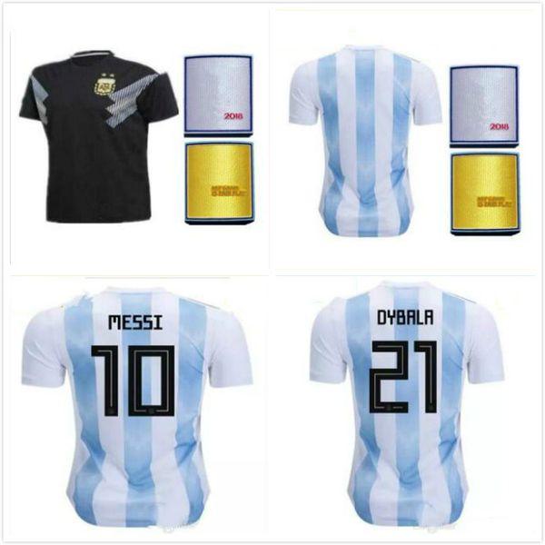 c289722323a 2018 World Cup Argentina away Jersey Argentina MESSI DYBALA DI MARIA AGUERO  HIGUAIN soccer shirt home