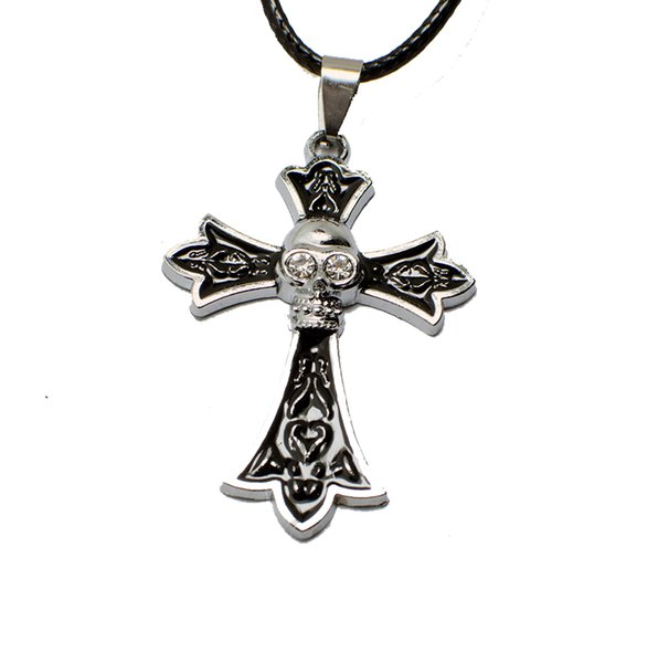 Free Shipping metal skull cross necklace for men silver alloy pendants for women diy mens necklace jewelry gift