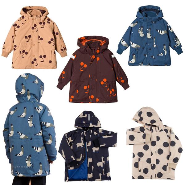 Children Warm Outwear Kids Zipper Jacket Tiny Cottons 2018 Boys Clothes Baby Girls Winter Coat Cherry Dot Thicken Hooded Coats