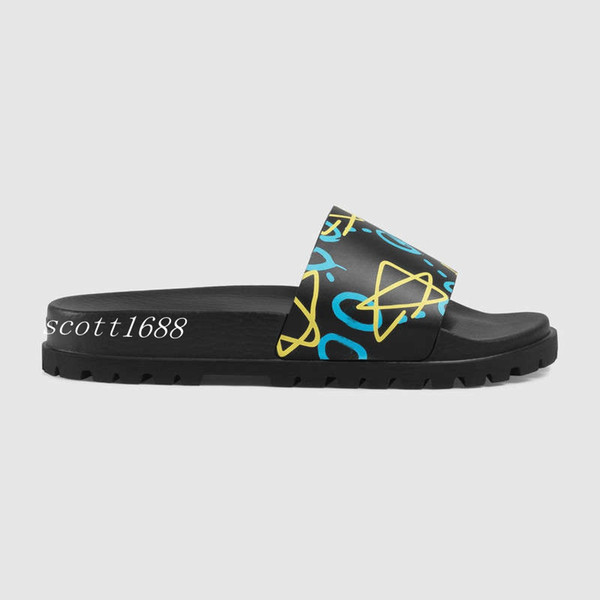 mens fashion logo Graffiti print trek slide sandals flip flops with thick rubber sole boys causal beach slippers