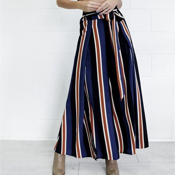 S-XL Fashion Wide Leg Pants Women High Waisted Elastic Waist Loose Pants Striped Long Casual Trousers Wide Leg Flat Full Pants
