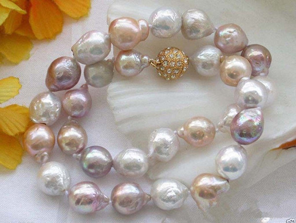 New rare large 11-12MM WHITE PINK lavender PEARL NECKLACE 18""