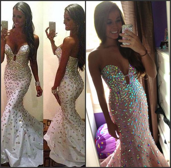 Corte profundo de tafetán Sexy Diamante Sirena vestidos de noche Sparkly vestido de fiesta blanco vestidos de gala de noche largos