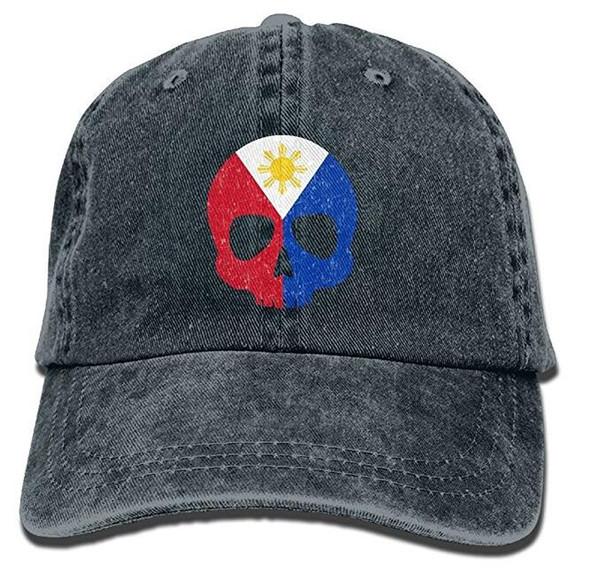 Retro Philippine Flag Skull Distressed Classic Unisex Baseball Cap Adjustable Washed Dyed Cotton Ball Hat Multi-color optional