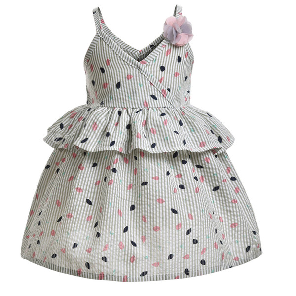 Niños Niñas Sling Leaves Impreso Ruffle Ball Gown Princess Dress para bebés y niños Niños 1T-6T Flower Fashion Dress