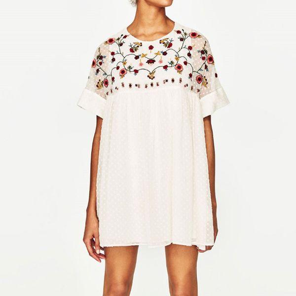 2018 Cheshanf New Summer Fashion Women Flower Embroidery Dress Vintage Dress Elegant Casual Loose Short Dresses Vestidos Mujer Y1891301
