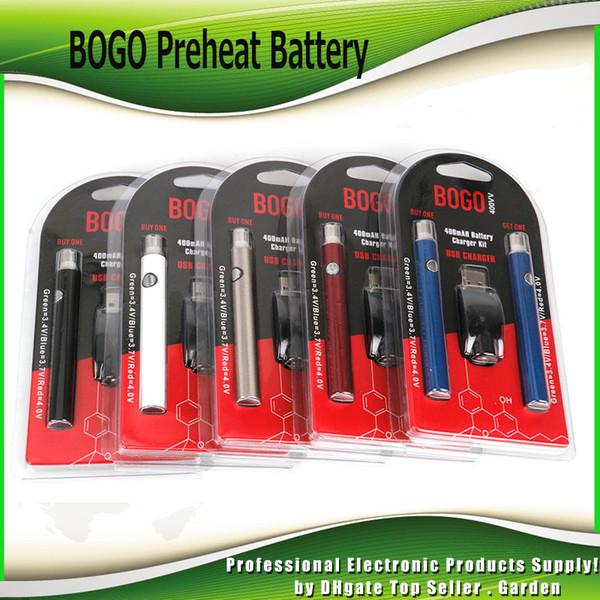 BOGO préchauffer la batterie Double stylo chargeur Kit Blister Pack VV 400mAh O-Pen BUD Batterie tactile pour cartouches d'huile épaisse de 510 fils