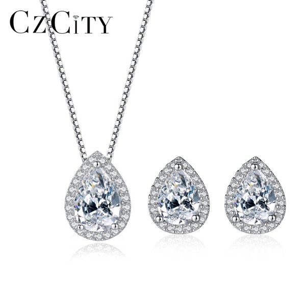 CZCITY Genuine 925 Sterling Silver Jewelry Set Water Drop Shape Vintage Style Clear CZ Jewelry Sets Sterling Silver