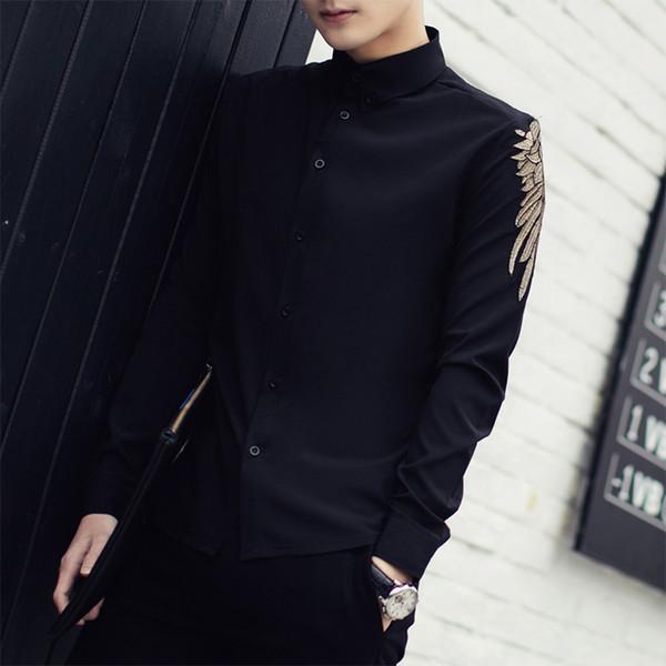 Chemise Homme 2018 Yeni Bahar Katı Uzun Kollu Işlemeli Gömlek Erkekler Kore Moda Slim Fit Rahat Erkekler Gömlek Siyah Beyaz 3XL-M S917