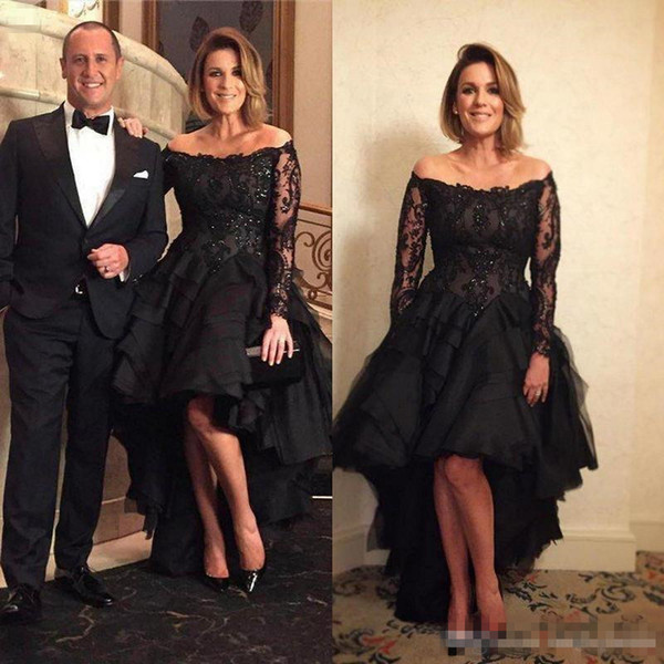 2018 Black Long Sleeve Formal Evening Dresses Off-Shoulder Lace Beaded High Low Prom Dress Plus Size Evening Gowns For Mother Of The Bride