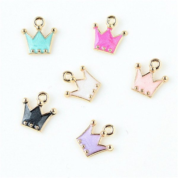 50PCS Alloy Mixed color Pink Crown Pendant 11*13mm Enamel Charms DIY Accessories For Handmade Bracelet Necklace,Keychain Fashion Personality