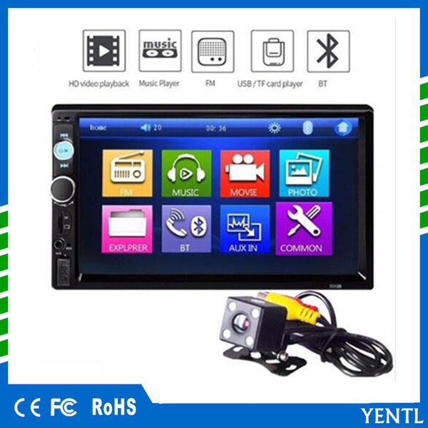 "Free shipping YENTL 7010B 2 Din Car Video Player Car DVD 7 inch Bluetooth FM Radio Car MP5 Player Stereo Audio 7 ""HD MP5 Touch Screen FM"