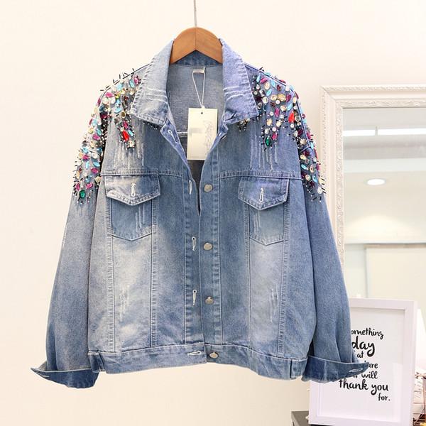 2018 Autumn Women's Heavy Handmade Beaded Studded Women Denim Jackets Female Loose Long Sleeve jacket Jeans Coat Casual Outwear