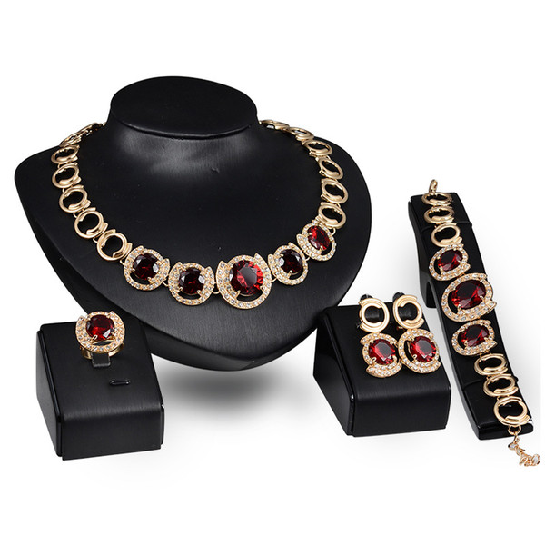 Dubai 18K Gold Pendant Red Ruby Necklace Sets Fashion African Diamond Wedding Bridal Jewelry Sets (Necklace + Bracelet + Earrings +Ring)