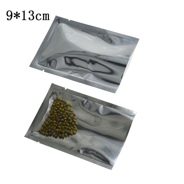 9*13cm Heat Seal Open Top Bulk Food Packing Pouch Clear Plastic Aluminum Foil Package Bag Retail Dried Coffee Tea Candy Vacuum Packaging Bag