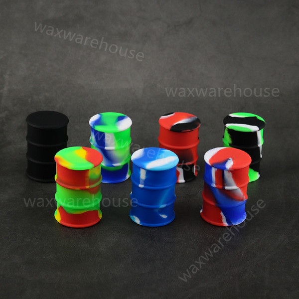 Eco-friendly oil drum style silicone wax containers dry herb concentrate case assorted color oil barrel dab jar Wholesale price
