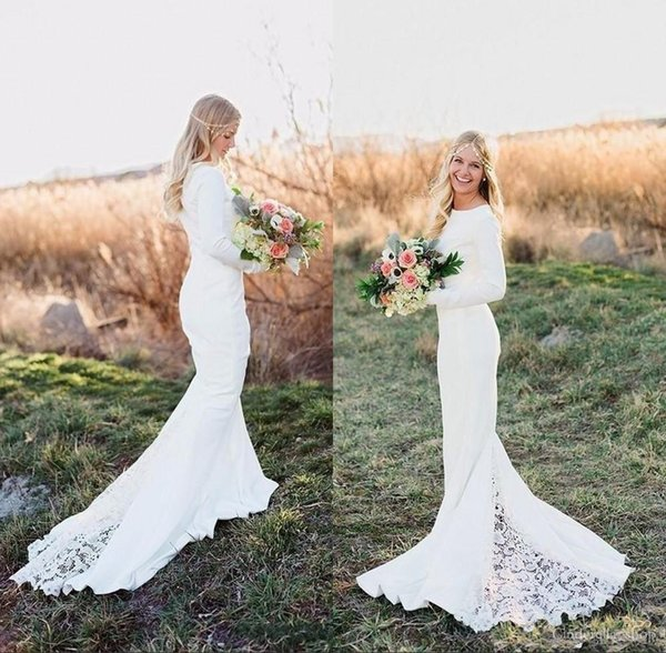2018 Mermaid Wedding Dresses Long Sleeves Jewel Sweep Train Vintage Cheap Lace Satin Beach Garden Country Bridal Gowns Vestidos De Novia