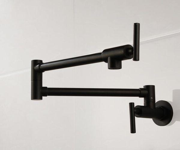 Envío libre de latón mate negro cocina grifo sola manija olla de relleno faucet caño de montaje en pared de baño frío grifo SF777