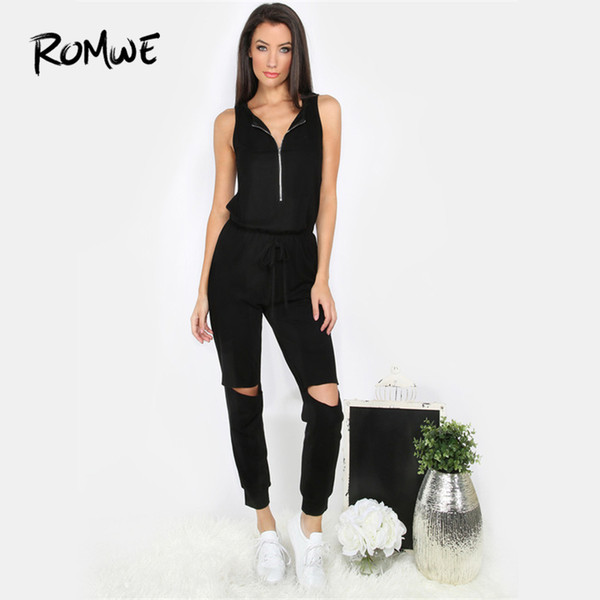 ROMWE Drawstring Ripped Black Sleeveless Zipper Cutout Jumpsuit Ladies V Neck Low Waist 2018 Summer Female Plain Casual Jumpsuit