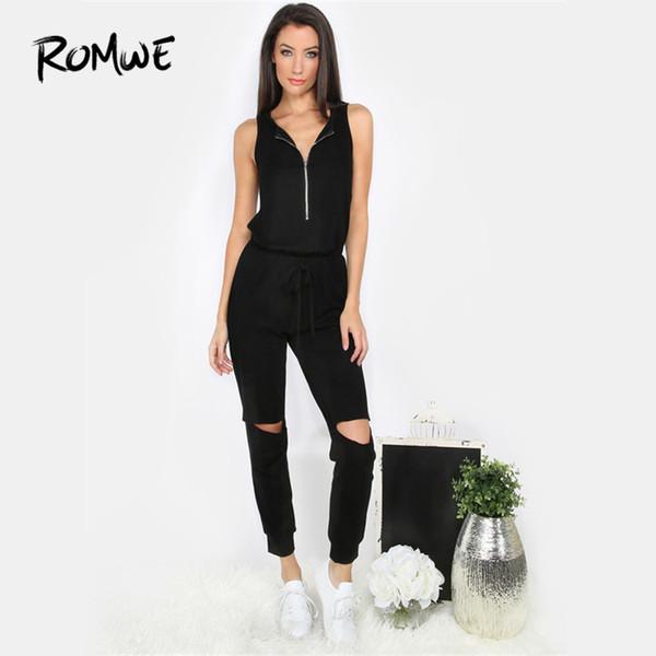 ROMWE Drawstring gerippte schwarze ärmellose Reißverschlussausschnitt Jumpsuit Damen V-Ausschnitt niedrige Taille 2018 Sommer weibliche Plain Casual Jumpsuit