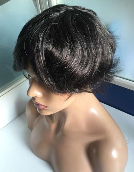 Q6 Dantel Ön Peruklar # 1b ile 20% Beyaz Saç Düz Hint Remy İnsan Saç Erkekler için 32mm Dalga Yüksek Kalite Peruk Ücretsiz Kargo