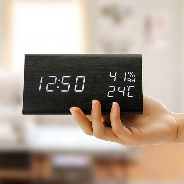 2018 Creative Desk Table Clock Voice Control Portable LED Voice Control Alarm Clock Temperature Calendar Snooze Function