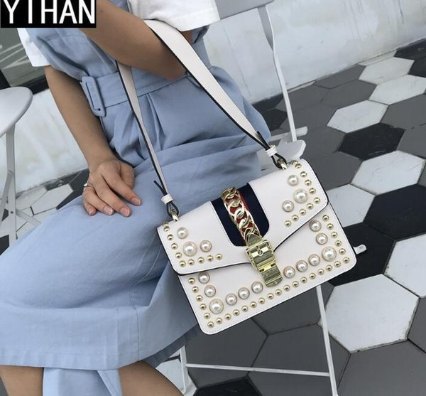Factory independent brand women bag high quality leather women single shoulder bag Flip Style pearl Satchel Shoulder Bag Fashion rivet handb
