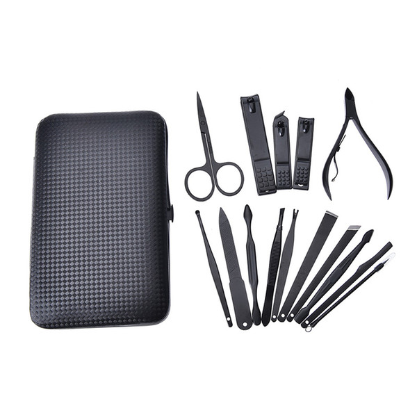 Stainless Steel Set with Case Nail Clipper Cutter Trimmer Ear Pick Grooming Kit Manicure Pedicure Toe Nail Tools 15 Pcs/set