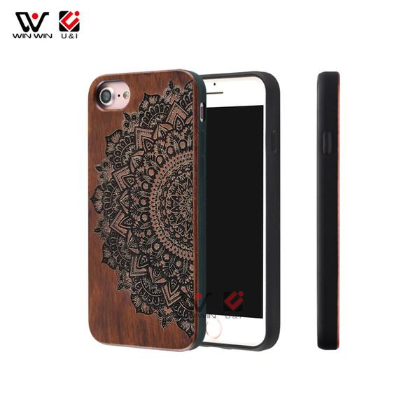Retro mandala wood cell phone case universal for iPhone 6 6s 7 8 6plus 7plus 8plus plus, luxury mobile cover for i Phone