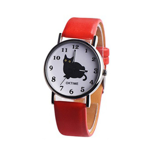 Women Kawaii Cute Cat Fashionable Leather Band Round Dial Quartz Sport Best Birthday Wrist Watch Great Gift For Student Girl Boy