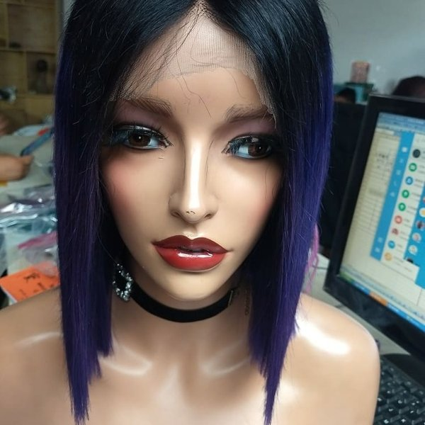 150% density Brazilian Hair short Bob Straight ombre 1B blue Lace Front Wigs around Baby Hair Pre Plucked natural hairline For black Women