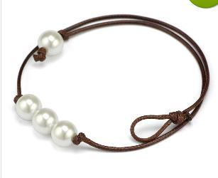 2018 Brand New Women's Fashion Hand Made high luster Freshwater Pearls Leather Rope Chain Simple and elegant Bracelet Necklace