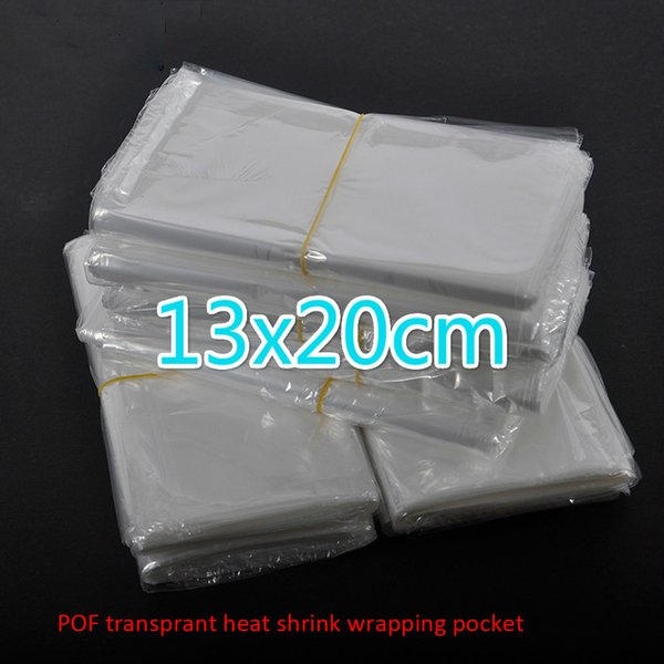 300pcs/lot 13x20cm Clear Transparent Shrink Wrap Package Heat Seal Bag POF Gift packing plastic bags for comestic bottles boxes