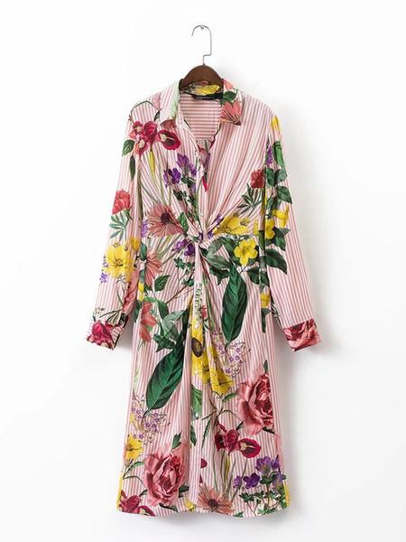 Süßer roter gestreifter Blumendruck auf der Vorderseite Kink dünnes langes Hemdkleid Umlegekragen Frau Langarm