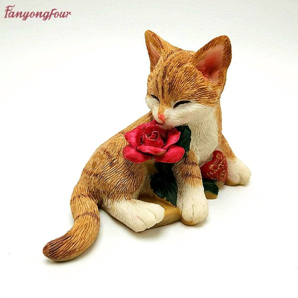 Rose cat cake mold 3D handmade soap candles plaster silicone mold cake decoration tools