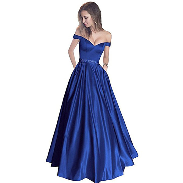 Elegant Off Shoulder Long Prom Dresses 2018 Royal Blue A-line Robe De Soiree With Beaded Satin Black Girls Evening Gowns Cheap Plus Size