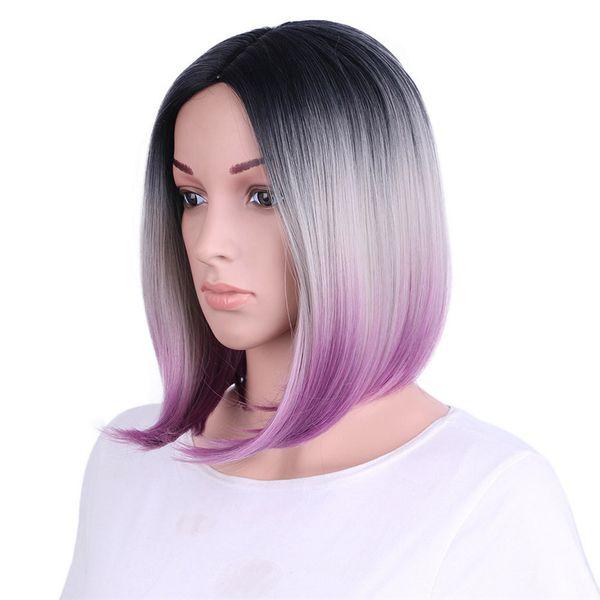 Parrucche sintetiche diritte del parrucchiere anteriore viola del pizzo dei capelli del * 2017 per le donne Calore amichevole