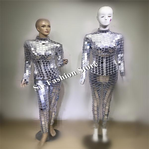 DC81 бальный танцор костюмы зеркало робот костюм сценическое шоу dj носит платья подиум модели талии печать dj клуб бар производительность партии одежда