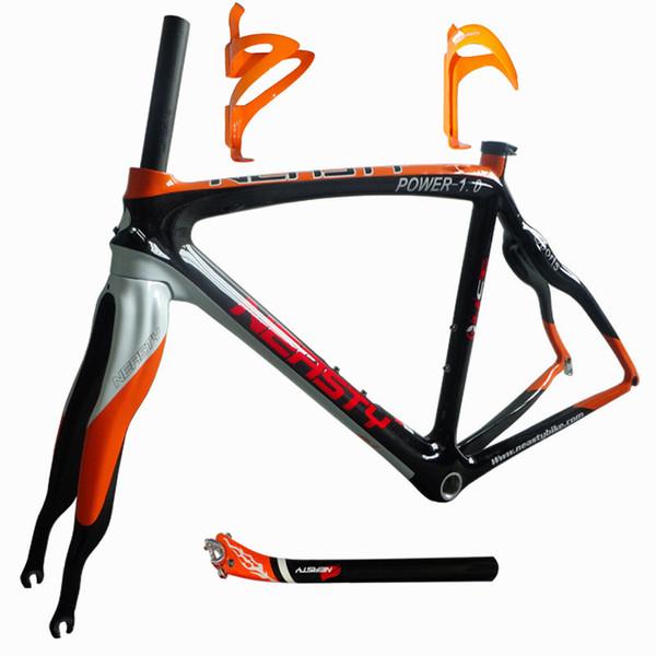 Muy buen suministro de fábrica de fibra de carbono bicicleta cuadro de carretera naranja + soporte + tija de sillín 48/50/52 / 56cm