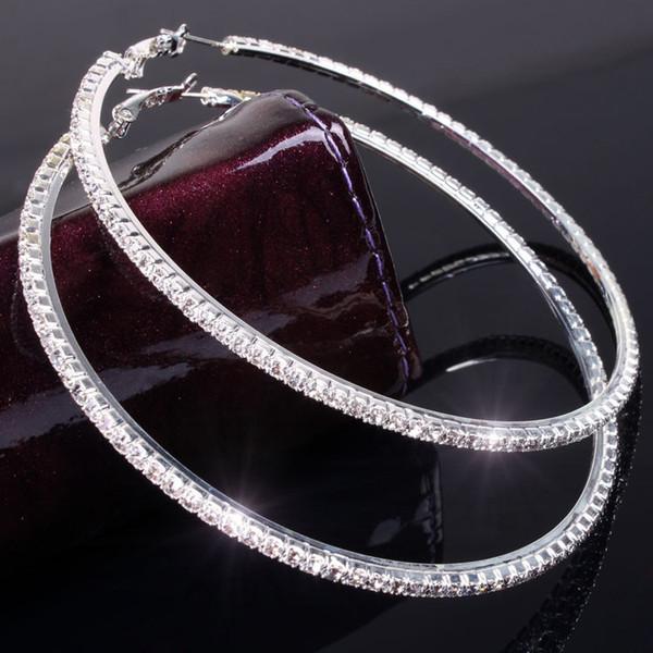 8CM Diameter Crystal Big Hoop Loop Earring Women Party Club Rhinestone Hoop Earring Sparking