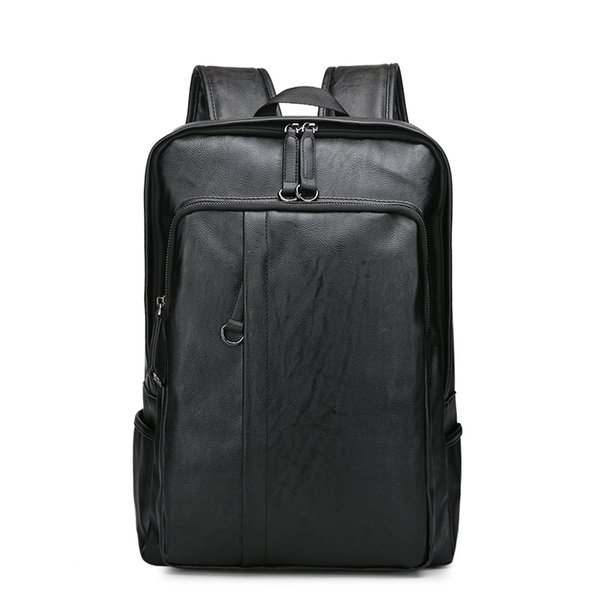 timeless design 05b71 61cf7 Dropshipping Leather Mens Laptop Backpack Casual For College High Capacity Trendy  School Backpack Men Travel Bag