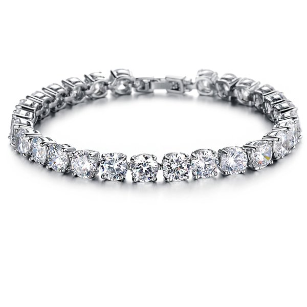 Sparking Platinum Plated Cubic Zirconia Birthstone Tennis Bracelet Elegant Style Gift for Wedding/ Engagement/ Birthday Mother's day Gifts