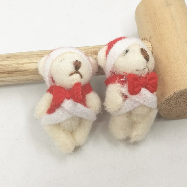 Mini Jointed Christmas Bear Dolls Cartoon Joint Teddy Bear Plush Toys Keg Bag Phone Pendants DIY Xmas Gift 4.5cm 100pcs